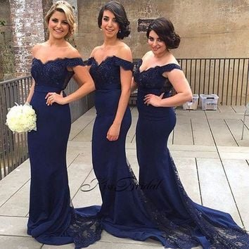 Fashion New Mermaid Bridesmaid Dresses Sweetheart Neck Cap Sleeve Floor Length Beaded Satin Wedding Party Dresses Brautjungfernk