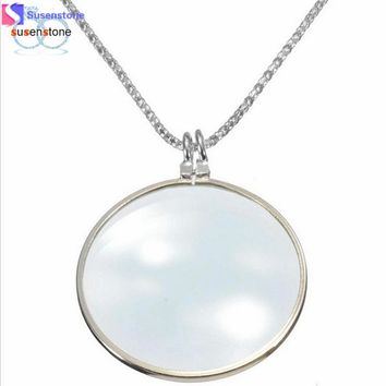SUSENSTONE 6x Magnifier Pendant Necklaces for Gold or Sliver