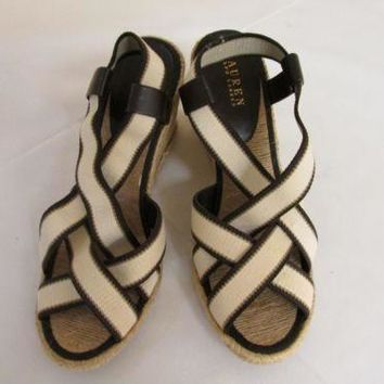 Ralph Lauren Idalis Black/Cream Espadrille Wedge Sandals 7 B Shoes NIB