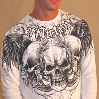 Affliction Julius Mens Thermal Vintage White