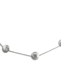 """18"""" 14 Karat White Gold Coin Pearl Station Necklace"""