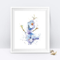 Olaf Print Olaf Watercolor Nursery Printable Art Frozen Poster Snowman Disney Wall Art Baby Gift Kids Room Decor Digital Downlad