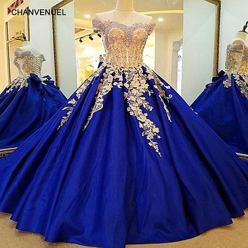 Royal Blue Lace Long Corset Back Ball Gown Satin Off The Shoulder Evening Dress