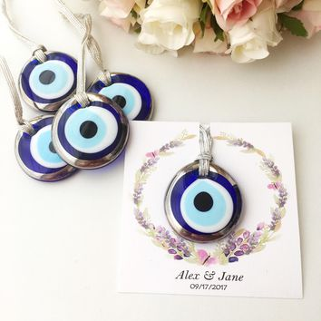 Wedding favors for guest, silver evil eye charms, nazar boncuk
