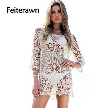 PEAPGC3 Feiterawn 2017 Women Summer Crochet Tassel Beach Dress Cover Up White Hollow Out Knitted Swimsuit Bikinis Cover Ups DY0951