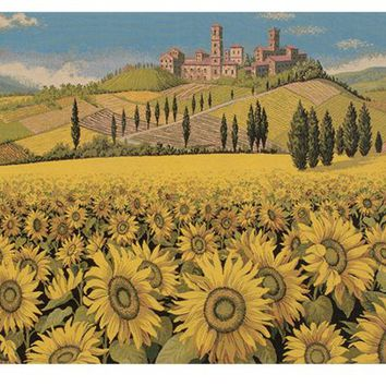 Tuscan Sunflower Wide Landscape Italian Tapestry