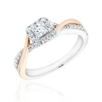 Two-Tone Princess Diamond Square Halo Engagement Ring 1/2ctw