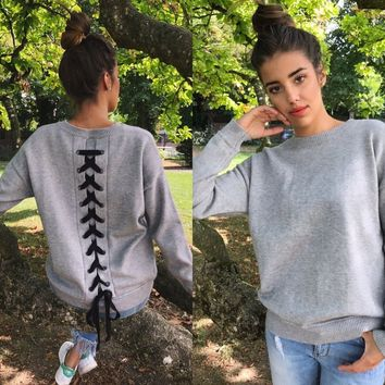 Lace Up Back Sweater (Gray)