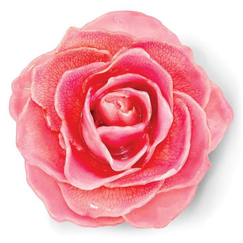 Lacquer Dipped Pink Rose Blossom Pin