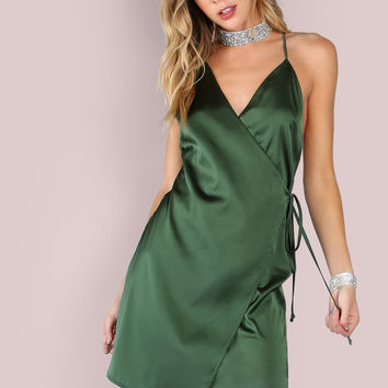 Green Wrap Tie Satin Dress