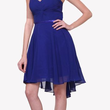 Short Twisted Bodice Chiffon Royal Blue Bridesmaid Dress Strapless