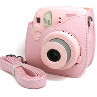 Woodmin Pink PU Leather fuji mini case bag for Fujifilm Instax Mini 8 case + Free Shoulder Strap