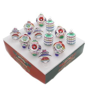 Shiny Brite CC DECORATED SHAPES Glass Ornaments 4027602