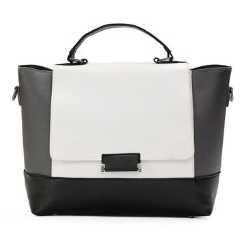 Women Stylish Black and White Messenger Bag faux Leather Satchel Tote Shoulder Handbag