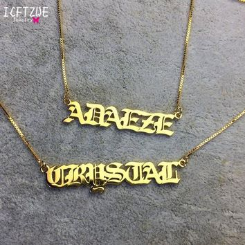 Personalized Men Custom Jewelry Gargantilha Old English Name Necklaces For Women Gold Box Chain Bridesmaid Gift Best Friend BFF
