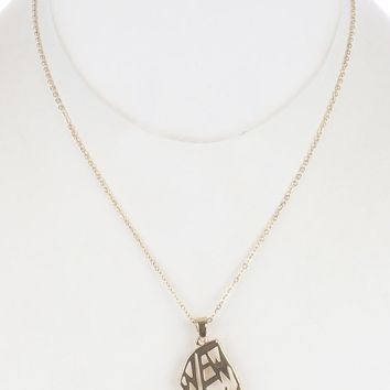 Cutout Metal State Of New York Pendant Necklace