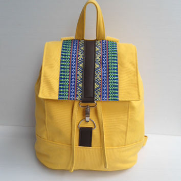 Yellow canvas and  homespun Backpack--handmade bag /Backpack/ Messenger / Rucksack/Adjustable strap--yellow canvas fabric by lalitathaicraft