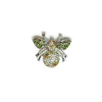 Vintage Bee Pin Silver Bee Brooch Light Yellow Body Green Wings Orange Rhinestone Flowers Eyes