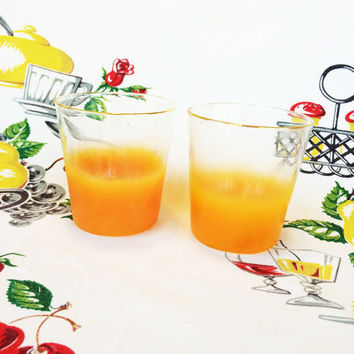 1960s Orange Blendo Rocks Glasses Mid Century Mod West Virginia Glass Vintage Kitchen Mid Mod