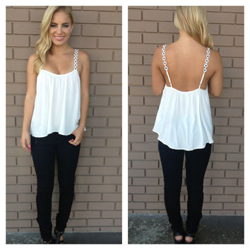 Black & White Daisy Strap Low Back Tank