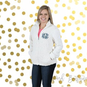 Monogrammed Full Zip Sherpa, Sherpas for Women and Girls, Group Order Discounts, Monogrammed Sherpa Jacket