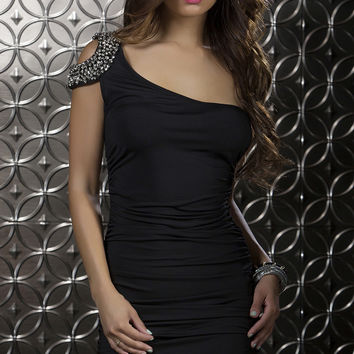 One Shoulder Mini Dress with Bead Detail Clubwear