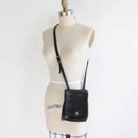 Vintage 80s Small Sqaure Black Leather Shoulder Purse
