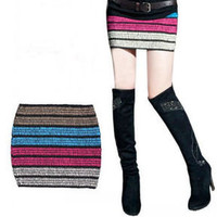 Women's clothing Fashion Multicolor Striped lovely Knit Skirt 200g new arrival