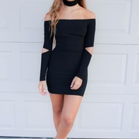 With Open Arms Black Mini Dress