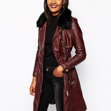 River Island Leather Look Trench Coat With Faux Fur Collar