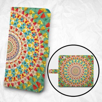 iPhone 7 iPhone 7 Plus case Samsung Galaxy S7 case S7 Edge case Note 5 4 3 PU leather flip cover Book Phone case Wallet case - kaleidoscope