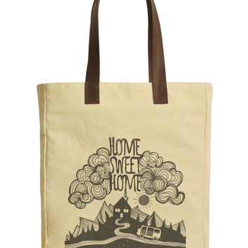 Home Sweet Home Beige Printed Canvas Tote Bags Leather Handles WAS_30