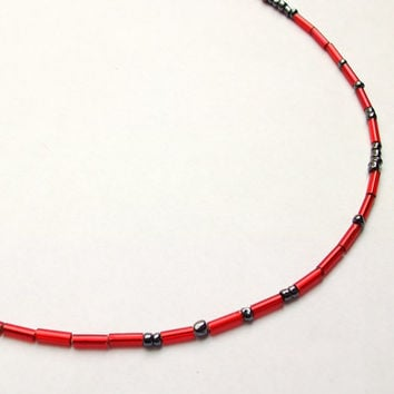 Morse code necklace You are my everything Italian Murano glass bead jewelry Red dash and Gunpowder Gray dot, Handcrafted in Venice, Italy