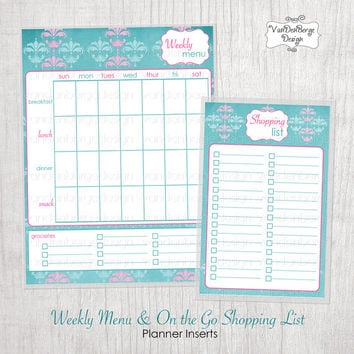 Weekly Menu & On the Go Shopping List Laminated Insert for Erin Condren Life Planners