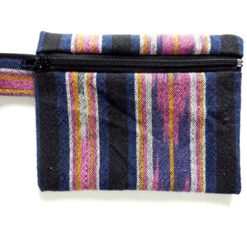 Wallet - Southwestern Style Cotton - Ethnic Tribal Pattern - Small Zipper Pouch - Black Pink Striped Coin Purse - Light Little Cute Bag