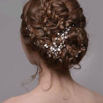 TREAZY Bridal Wedding Crystal Pearl Flower Hair Pins Elegant Handmade Hairpins Bridesmaid Bridal Veil Jewelry Hair Accessories