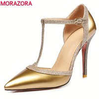 MORAZORA 6Colors size 34-45 new fashion T strap women pumps pointed toe summer 10cm stiletto high heels sexy wedding shoes woman