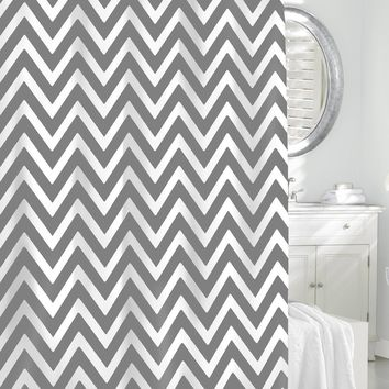 "Royal Bath 100% Cotton Shower Curtain (72"" x 72"") Grey/White Chevron"