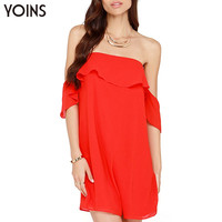 YOINS 2016 New Fashion Strapless Chiffon Mini Dress Woman Sexy Backless Dresses Party Night Club Wear Plus Size Summer Dress