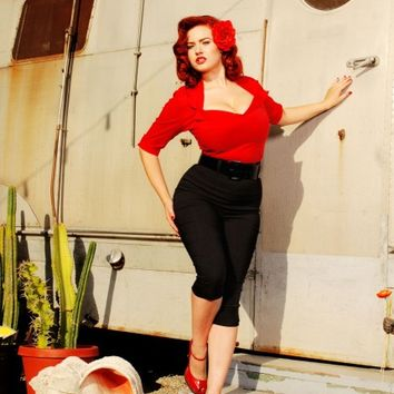 Doris Top in Red from Pinup Couture - Separates - Clothing | Pinup Girl Clothing
