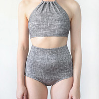 Grey Weave Two Piece - Top