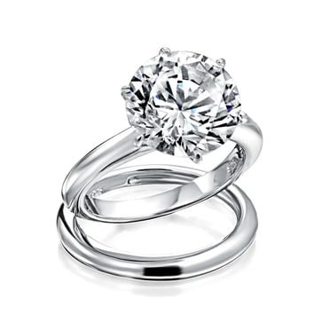 3 CT Solitaire CZ Engagement Wedding Band Ring Set 925 Sterling Silver