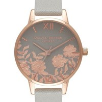 Olivia Burton Lace Detail Leather Strap Watch, 30mm | Nordstrom