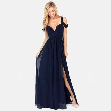 2016 Summer New Brand Casual  Elegant Sexy Chiffon Deep V Neck Off Shoulder Sleeve Split Women Evening Party Dress Beach Dress