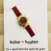 Elegant Dress Red Band Gift Card Mother and Daughter Bond Note Woman Fashion Watch