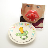 shower gift - joke gift - novelty and gag gift - pacifier holder - baby's mute button - gifts under 20 - funny gift for new dad or mom