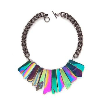 The Stardust Necklace   Galactic   Holographic Agate Statement Necklace