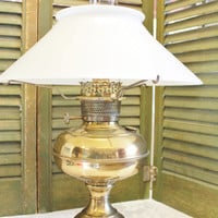 Brass Oil Lamp, converted  glass shade