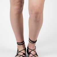 Black Lace up Sandals