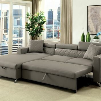 2 pc Dayna collection gray leatherette upholstered sectional sofa set with pull out bed base and storage